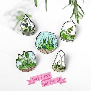 Эмалированные булавки для растений в горшках на заказ, Террариум, кактус, алоэ, мешочек для брошек, одежда, отворот, булавка для зеленого рас...