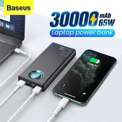 باسيوس باور بانك 65 وات 30000 mAh USB C PD سريع 30000 mAh باوربانك محمول بطارية خارجية شاحن لايفون شاومي نوت بوك