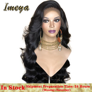 FANXITON Wig Hair-Wigs Bangs-Side-Part Long-Wig-Glueless Lace-Front Body-Wave Black Synthetic