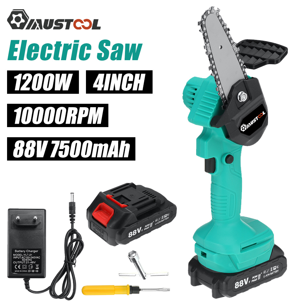 MUSTOOL 88V Mini Cordless Electric Chain Saw Rechargeable For Makita Battery Woodworking Pruning Garden Logging Saw Power Tools