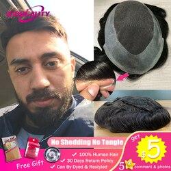AddBeauty encaje suizo y tupé de poliuretano sistemas de reemplazo hecho a mano hombre peluca cabello humano Natural Remy indio 6 pulgadas