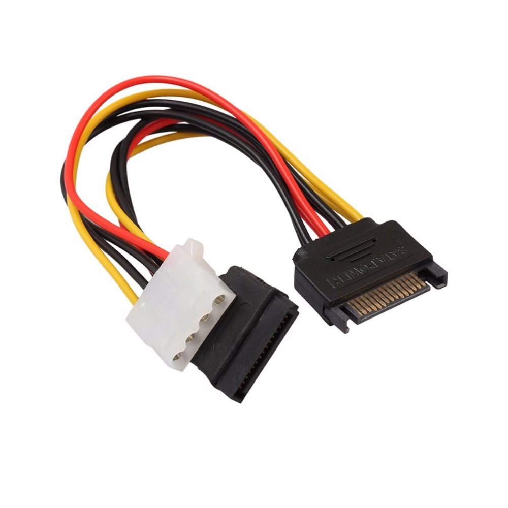 15Pin SATA Male To 4Pin IDE Molex Female + SATA Female Power Cable Cord 18AWG 1 To 2 Power Line For Motherboard & Hard Disk