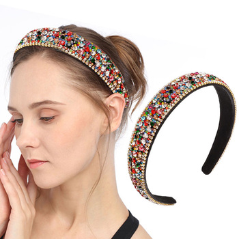 AWAYTR Wide Hair Hoop Retro Baroque Headband Wide Colorful Hairband Crystal Luxury Glitter Bezel Hair Accessories For Women Gift glitter knotted headband for women rhinestone crystal ladies hairband hair hoop solid color satin twisted bezel hair accessories