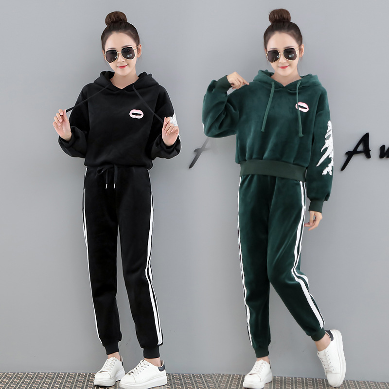 Casual Case Women's Autumn 2019 New Style Fashion Elegant Fashion Loose-Fit Slimming Hooded Pullover Wing Two Case