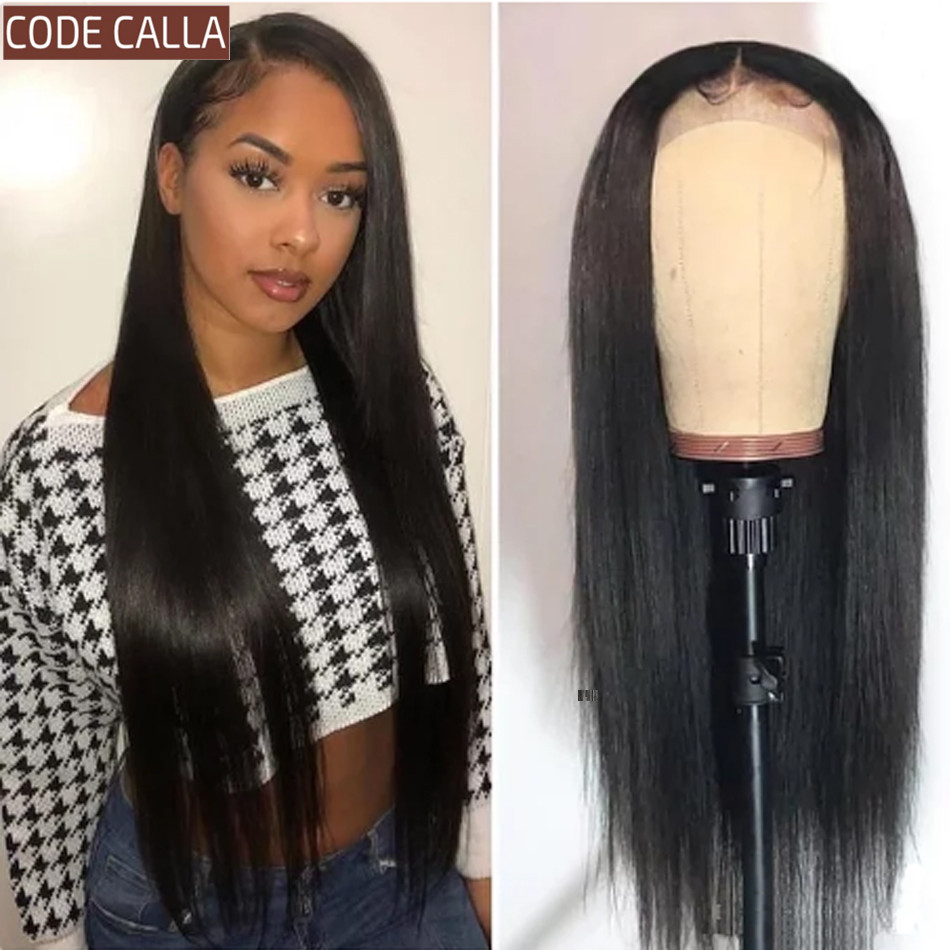 CODE CALLA Lace Front Human Hair Wigs For Black Women Pre-Plucked Hairline Lace Frontal Wig 13*4/4*4 Brazilian Straight Hair Wig