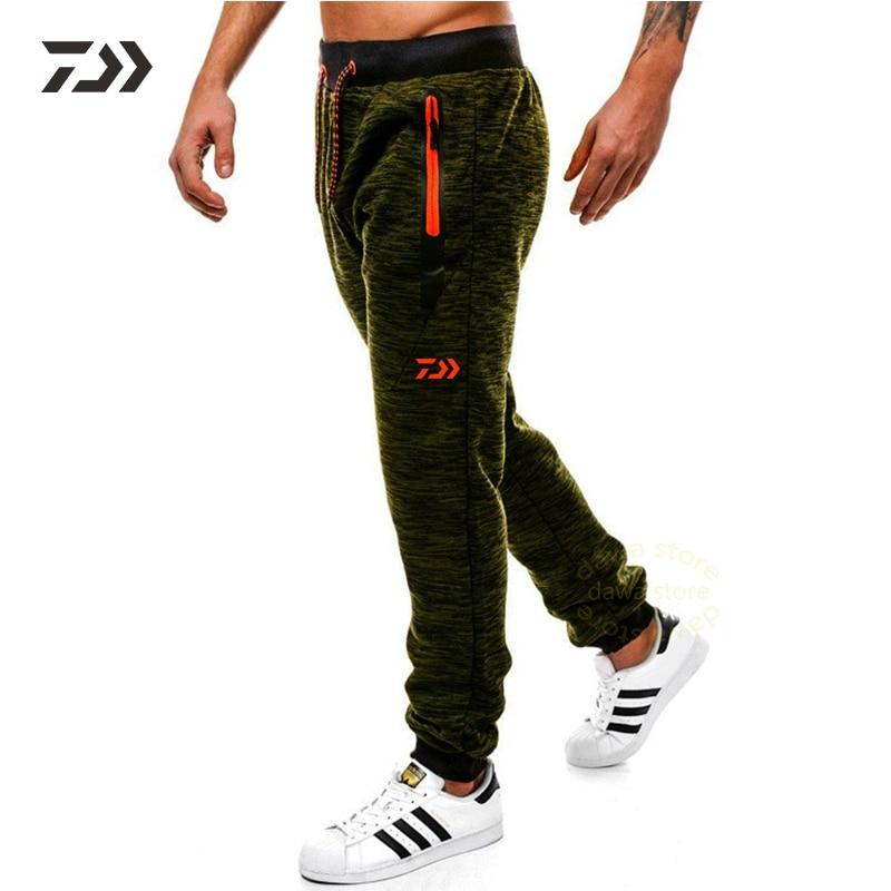 Daiwa Spring Autumn Joggers Pants In Sweatpants Loose Solid Men Pants Zipper Pocket Trousers Breathable Drawstring Fishing Pants