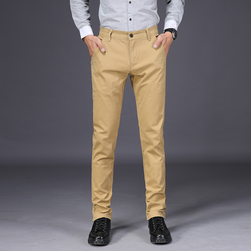 Mens Pants High Quality Cotton Casual Pants Stretch Male Trousers Man Long Straight 4 Color Plus Size Pant Suit 42 44 46