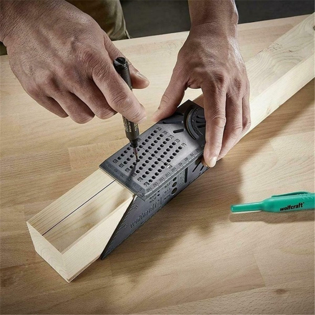 Lavorazione del legno Righello 3D Mitra Angolo di Calibro di Misurazione Formato Quadrato Strumento di Misura 3