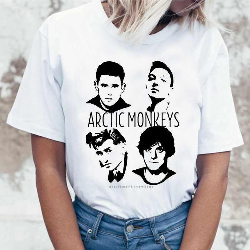 2019 ฤดูร้อน Tops Arctic Monkeys สีขาวเสื้อ T ผู้หญิงแขนสั้น O คอ T เสื้อ Punk ROCK พิมพ์ tee เสื้อ Femme