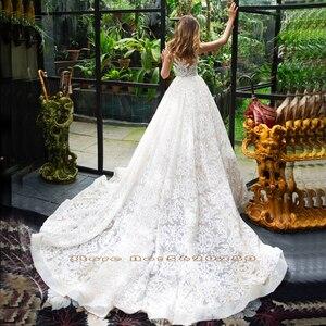 Image 2 - 2020 공주 Appliques 레이스 웨딩 드레스 긴 소매 Vestido 드 Novia Renda 신부 가운을 통해 볼