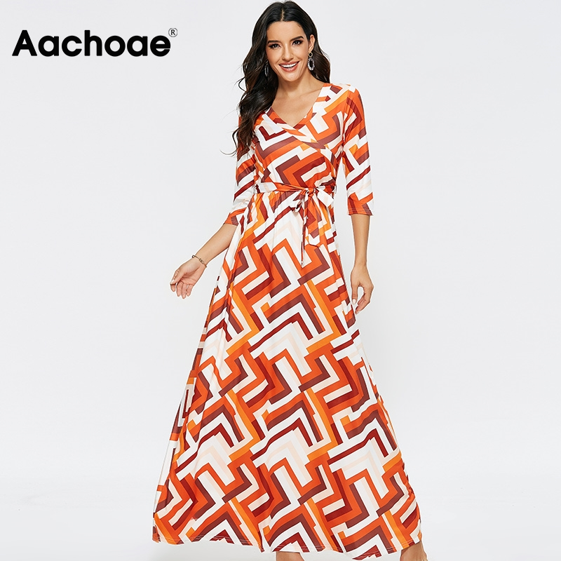 2020 Fashion Geometric Print Long Dress Women Spring Half Sleeve Casual Maxi Dresses Ladies Sexy V Neck Boho Beach Dress