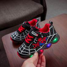 Chaussures Spiderman pour garçons, baskets lumineuses de marque en maille, chaussures clignotantes pour bébés, motif dessin animé Disney