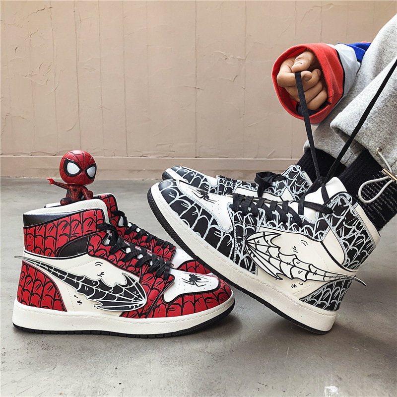 New Anime Superhero Spider-Man Cosplay Props Spiderman Gwen Stacy Canvas Shoe Teens School Sneakers Sports Outdoor Shoes
