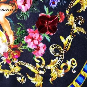 Image 5 - Qian Han Zi 2019 designer mode automne robe femmes 3/4 Vintage fleur imprimer paillettes perlé lâche robe