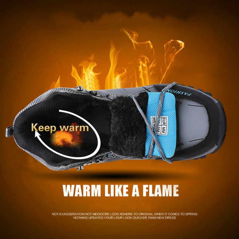 Di Alta Qualità di Inverno Scarpe Stivali di Pelle Casual da Viaggio Scarpe da Uomo di Alta Top Degli Uomini Antiscivolo Scarpe Impermeabili Scarpe di Pelliccia Caldo grande Formato Calzature