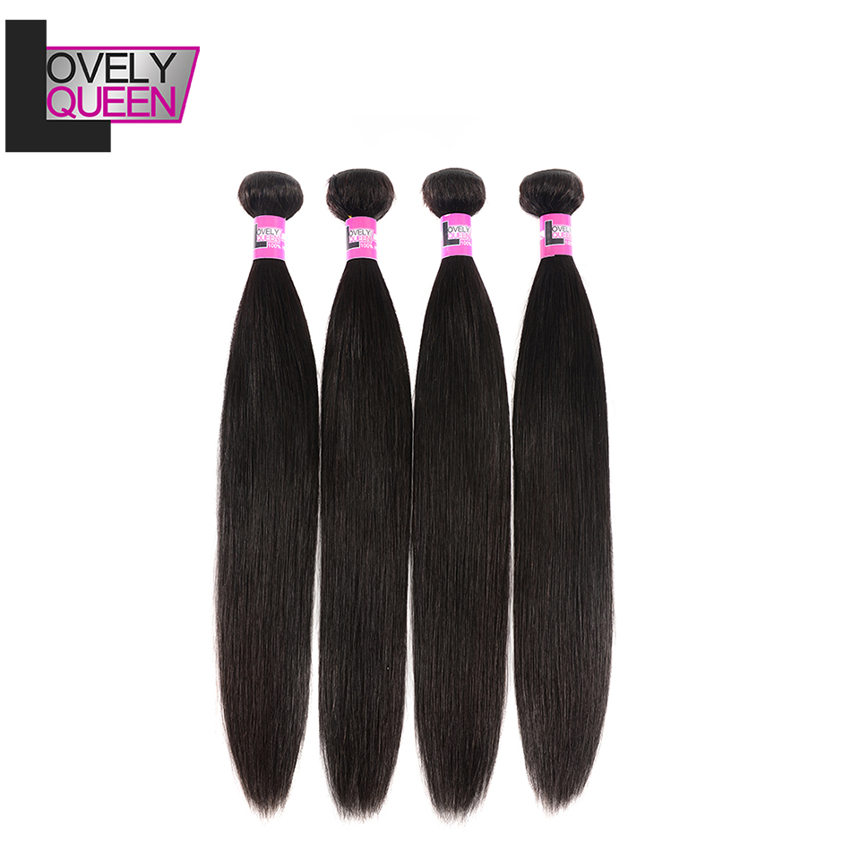 Indian Hair Straight Bundles Human Hair 4 Bundles 8-28 Inch 100% Real Hair Extensions LOVELY QUEEN