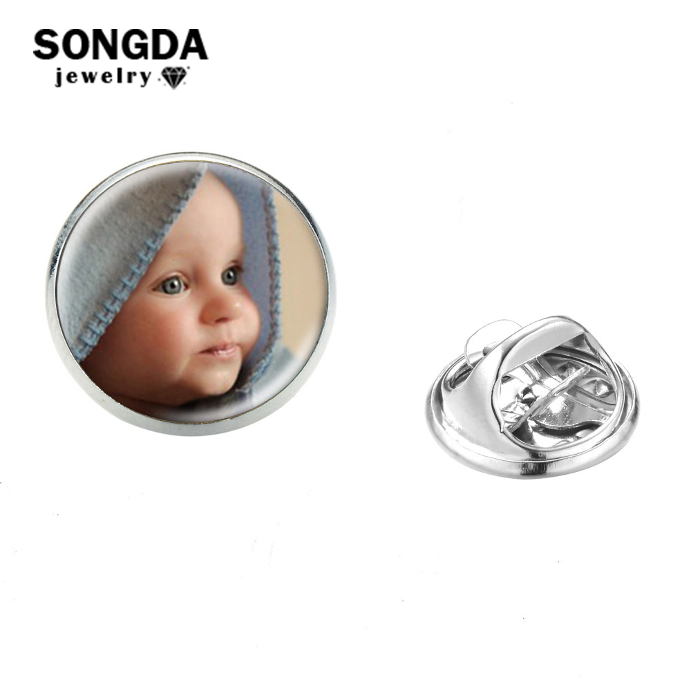 SONGDA Personalized Custom Stainless Steel Lapel Pin Family Members Logo Cat Dog Pet Art Picture Glass Round Badge Brooches Gift