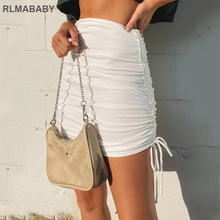 Female Skirts Ruched Drawstring Side Sexy High-Waist Knit RLMABABY Slim-Package Rib Hip