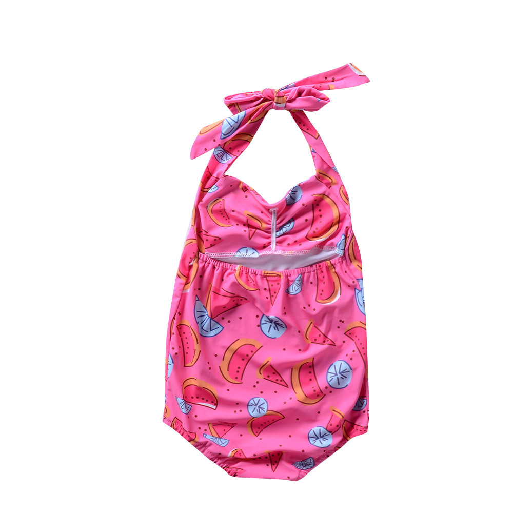 Summer New Style Girls Department Of Neck Bow Watermelon Bathing Suit Baby GIRL'S Bikini Swimwear KID'S Swimwear