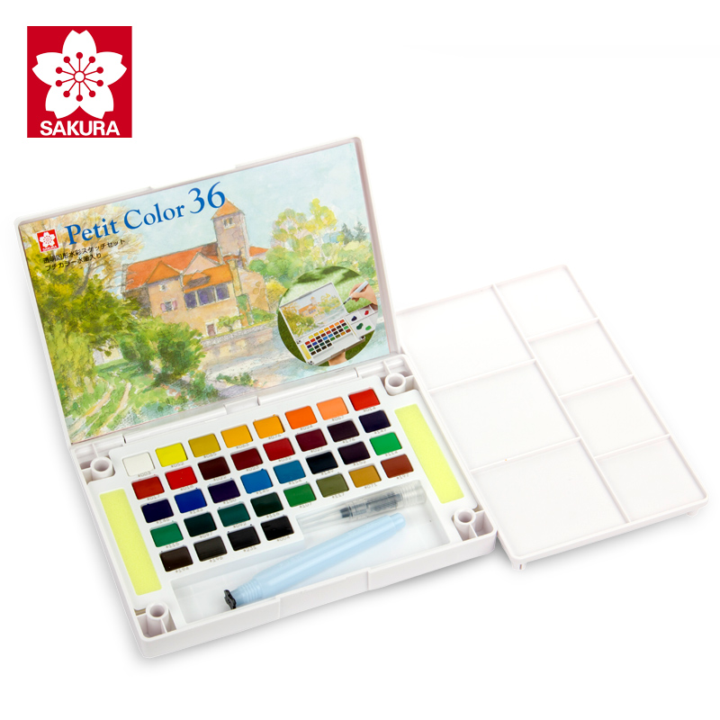 SAKURA Watercolor Solid Pigment Paint Set 12/18/24/30/36/48/60/72 Colors Lite/Hardcover Student Hand-painted Portable Supplies