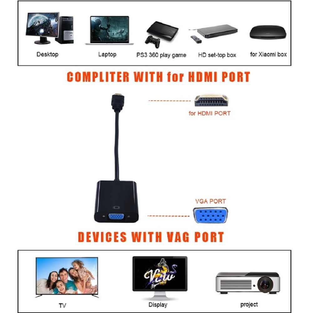 Conversor tishric micro/mini hdmi para vga, adaptador de áudio digital para analógico macho para fêmea cabo hdmi para vga projetor de pc para tv, caixa de tv