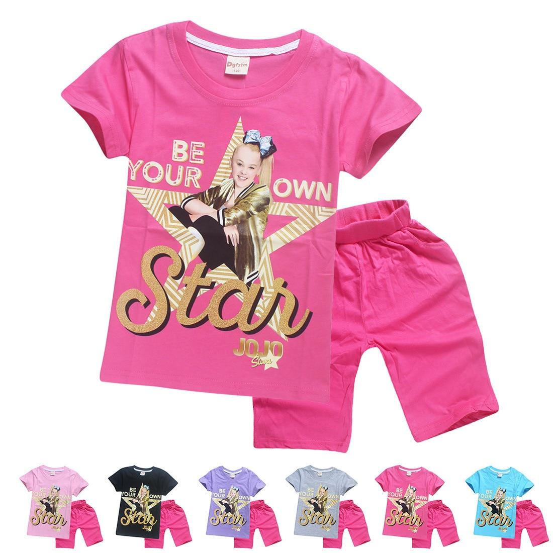 JOJO SIWA/розовые детские футболки хлопковые футболки для маленьких девочек комплекты с короткими рукавами для мальчиков и девочек футболки