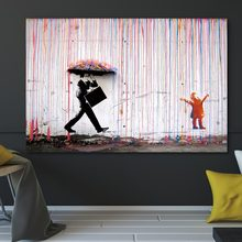 Banksy Colorful Rain Wall Art Canvas Painting Home Decor Artwork Posters And Prints Pictures No Frame