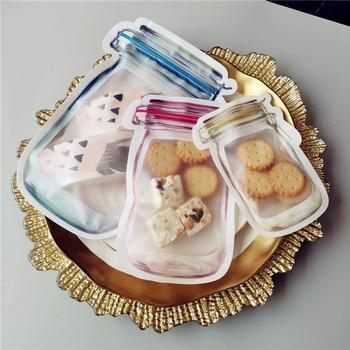 Easy Reusable Mason Bags Jar Bottles Zipper Bag Food Storage Snack Bag Seal Fresh Sealed Bags Zipper Organizer Bags Dropshipping 5