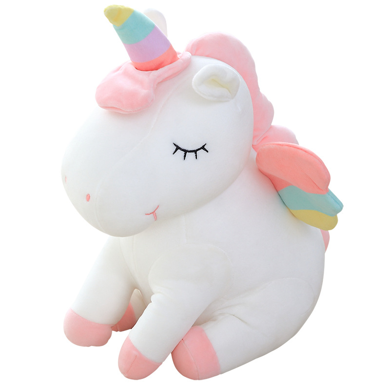 Unicorn Toy Plush-Toys Baby Dolls Wings Angel-Animals Birthday-Gifts Rainbow-Style Horse title=
