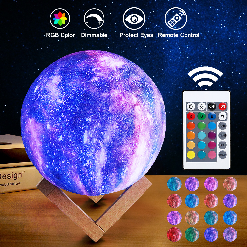 Stars Starry Sky LED Night Light Projector Moon Novelty Table Night Lamp Battery USB Night Light 3D Printing For Children
