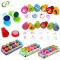 10pcs/Set Children Toy Stamps Cartoon Animals Fruits Kids Seal For Scrapbooking Stamper DIY Scrapbook Cartoon Stamper Toys ZXH