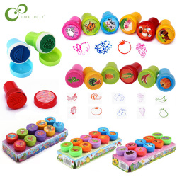 10pcs/Set Children Toy Stamps Cartoon Animals Fruits Kids Seal For Scrapbooking Stamper DIY Scrapbook Cartoon Stamper Toys ZXH