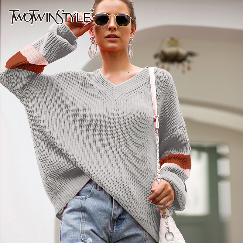 TWOTWINSTYLE Hit Color Casual Women's Sweater V Neck Batwing Sleeve Large Size Pullovers Autumn Sweaters Female 2020 Fashion New