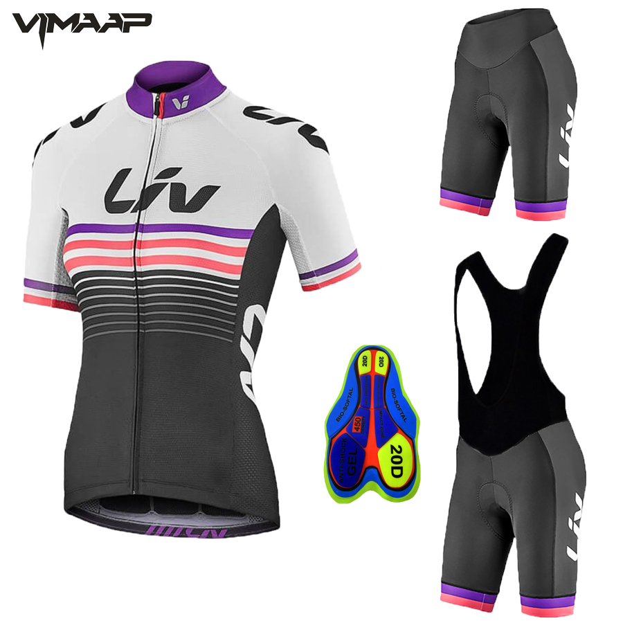 2020 Liv New Arrivals Women's Cycling Jerseys Set Short Sleeve Bicycle Clothing Quick Dry Riding Bike Clothes Ropa Ciclismo|Cycling Sets| |  - title=