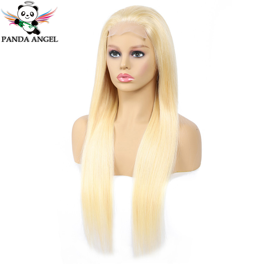 H23d1b2a49e8743a6b0a27dcd38a3d4d3t Panda 4x4 Honey Blonde Lace Wigs #613 Brazilian Hair Ombre Straight Lace Closure Wig 150% Density Blonde Human Hair Wigs Remy