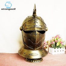 Strongwell European Retro Roman Samurai Helmet Table Night Light Iron Art Handmade Jewelry Home Bar Decoration Birthday Gift(China)