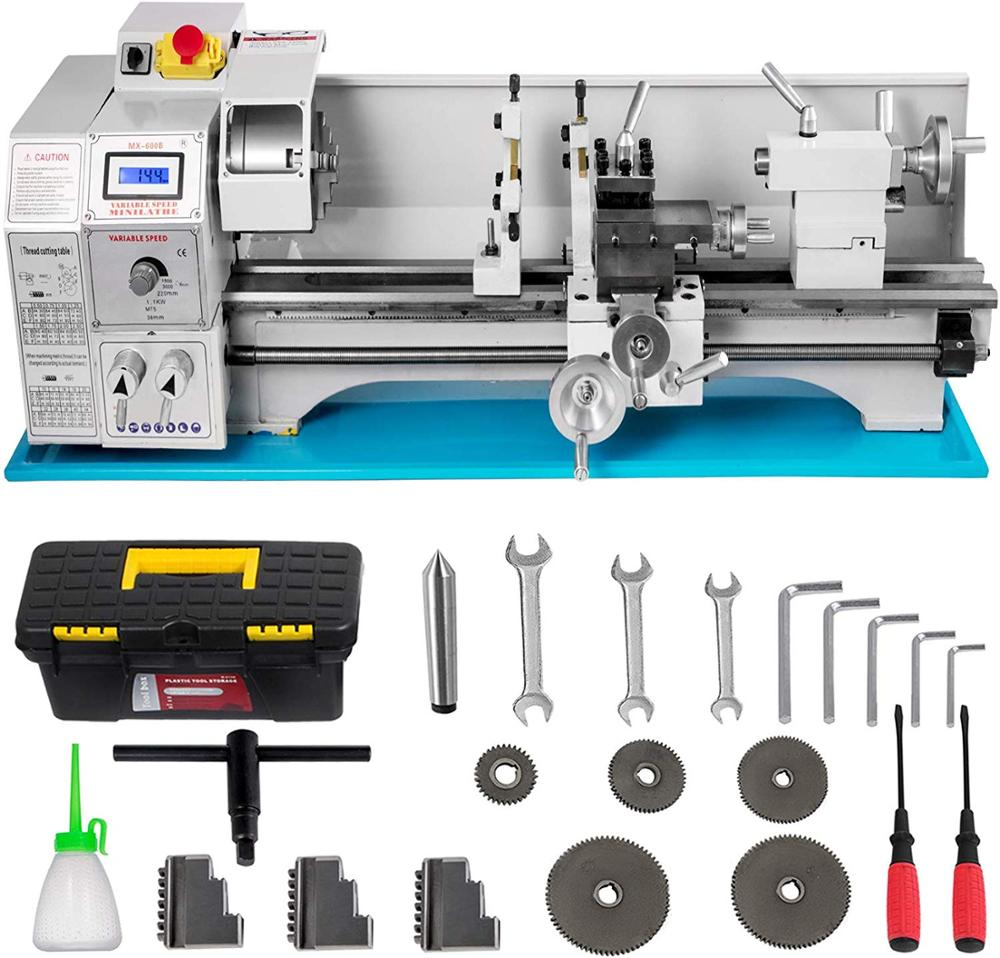 220 Mm X 600mm 1100W  Metal Lathe Mini Lathe For Counter Face Turning Driling  With Dead Center MT2 Gear Oil Gun Gears