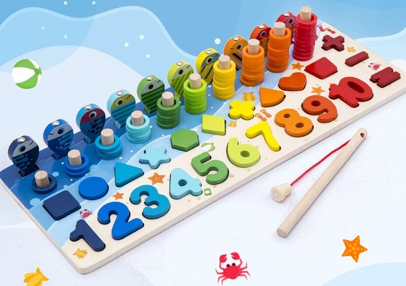 Qwz montessori brinquedos educativos de madeira para