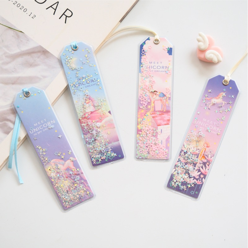 Cute Kawaii Creative Glitter Sequins Unicorn Bookmark Office School Index Bookmarks For Note Books Stationery Supplies