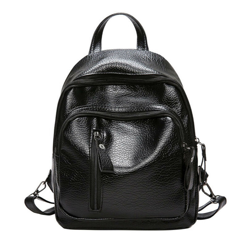 NEW Women Backpack PU Leather Waterproof Burglar Outdoor Travel Shoulder Bag Black School Bag