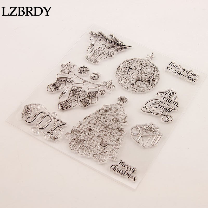 7.3 by 8.1 Inches Christmas Deer Christmas Joy Letters Star Flower Clear Rubber Stamps for Scrapbooking Card Making Christmas Stamps