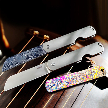 Titanium Alloy Pocket Folding Knife Damascus Steel Blade Camping Survival Rescue Knives Outdoor EDC No Damping  Utility Knifes