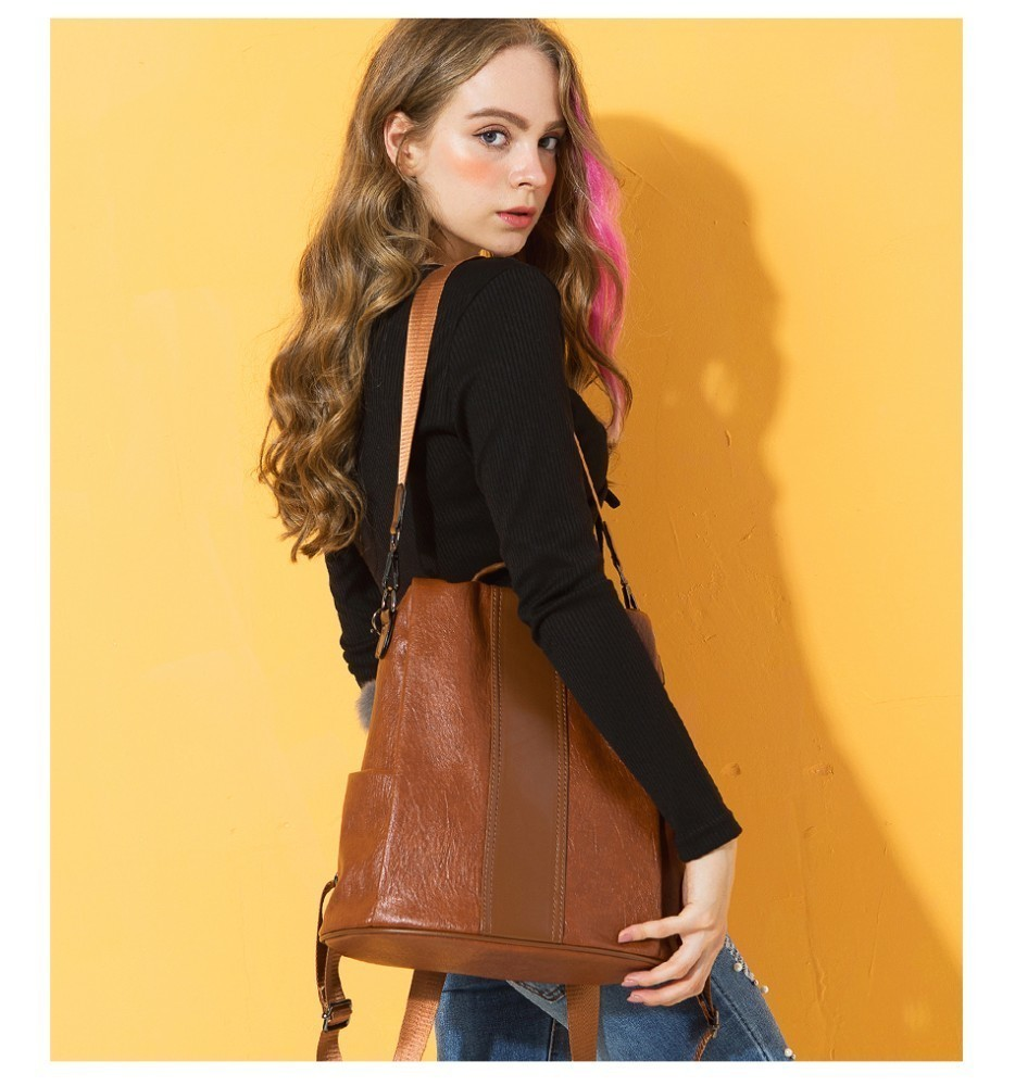 H23d1ea796c624123b328ba25ed90aaf5Q HERALD FASHION Quality Leather Anti-thief Women Backpack Large Capacity Hair Ball School Bag for Teenager girls Male Travel Bags