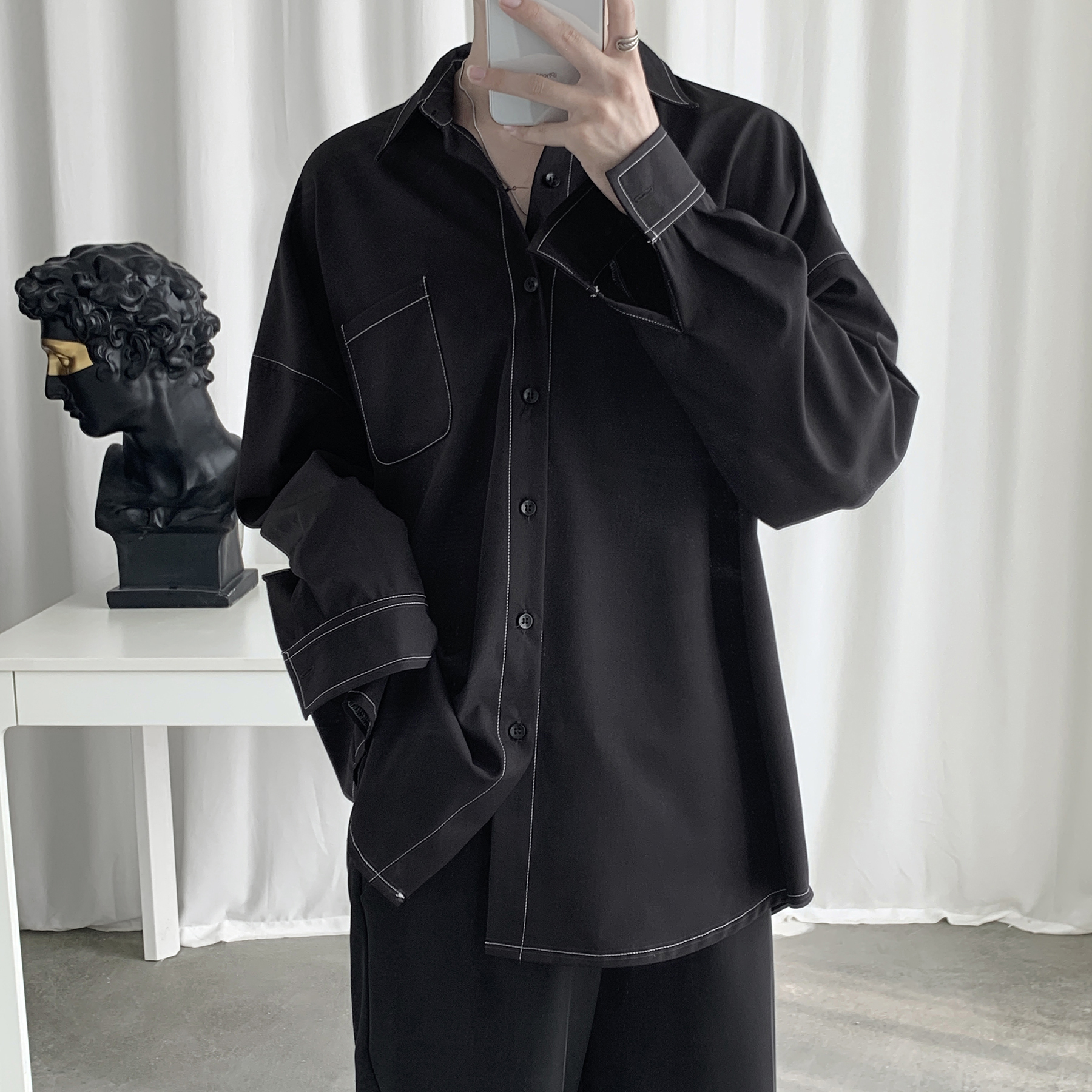 2019 Fashion Men Shirt Long Sleeve Korean Style Ulzzang Topstitched Design Solid  Street Wear Men Shirts