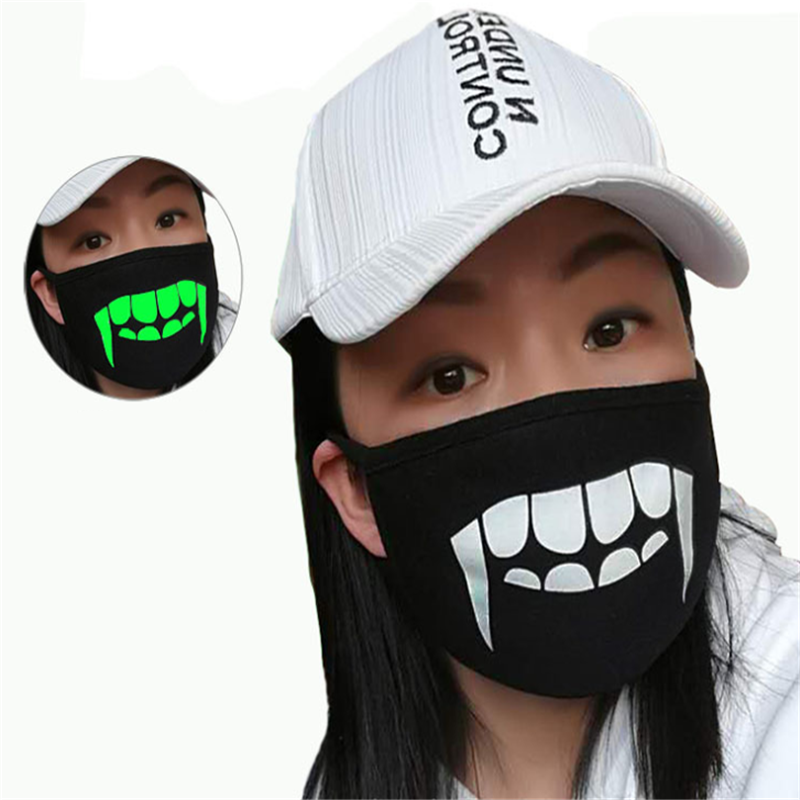 Hot Cute Cartoon Printing Masks Combed Cotton Mouth Mask Breathable Warm Glow In The Dark Anti-Dust Mask Mouth Cover For Outdoor