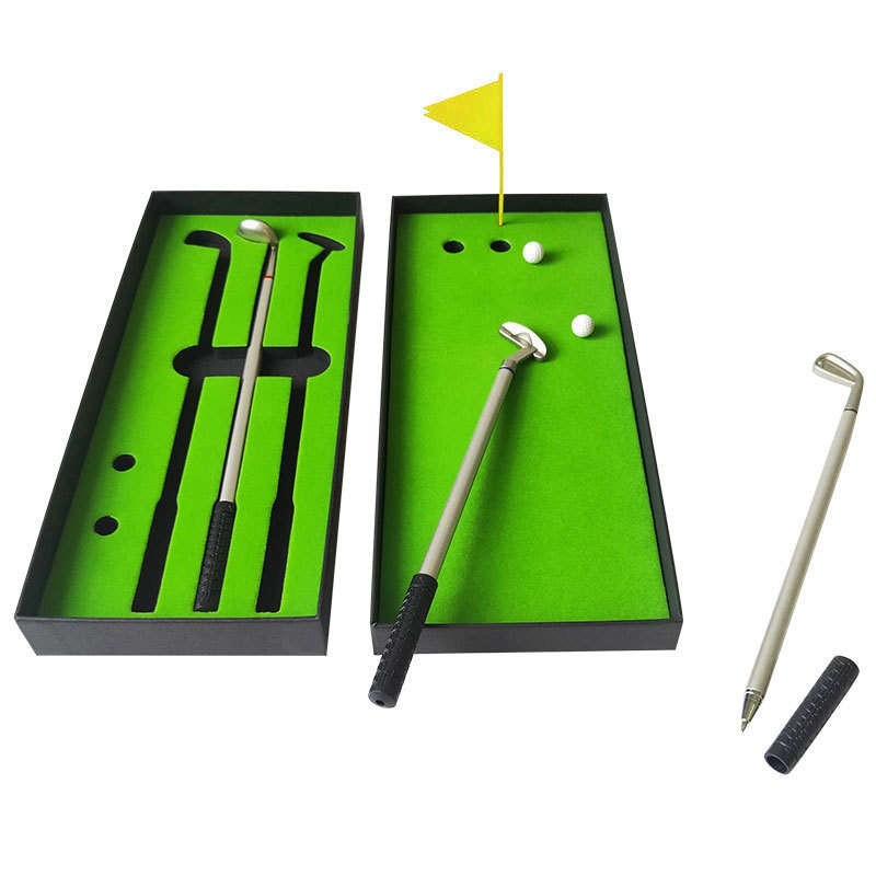 Creative Golf Box Ballpoint Pen Golf Tournament Set Gift Metal Club Pen Mini Golf Putter Pen