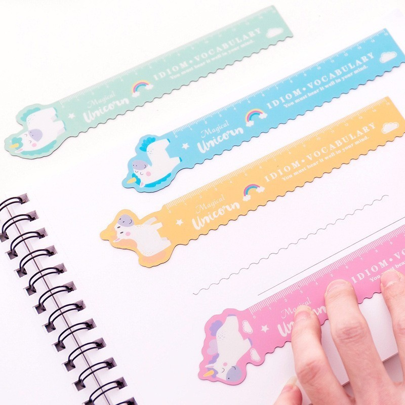 1 Pcs Kawaii Pig Unicorn Folded Plastic Ruler Measuring Straight Ruler Tool Student Gift Stationery
