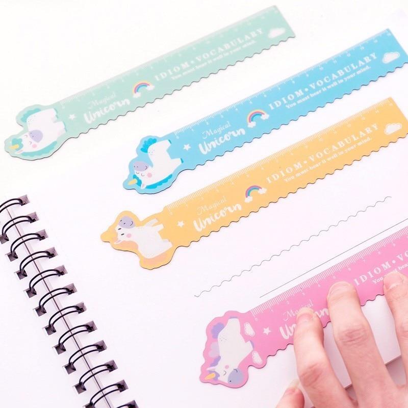 1 Pcs Kawaii Pig Unicorn Folded Plastic Ruler Measuring Straight Ruler Tool Student Gift Stationery