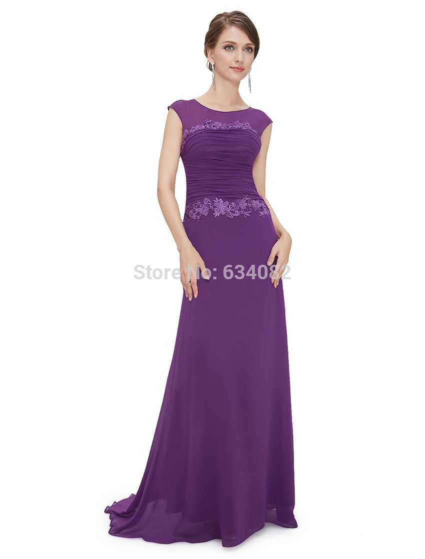 Mother Of The Bride Dresses Free Shipping 2016 New Arrival Women Trailing Round Neck Long Elegant Sexy Cheap Evening Prom Dress