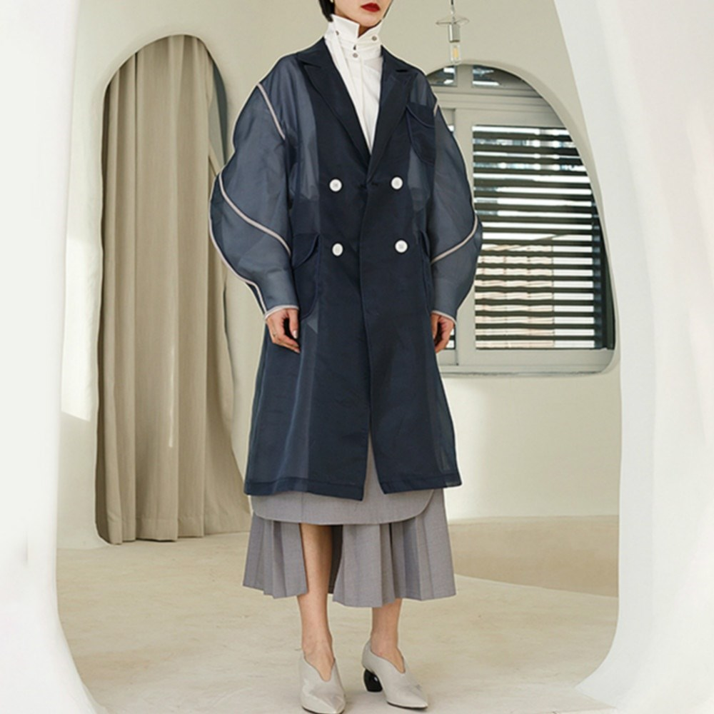 Autumn Women Lapel Long Sleeve   Trench   Mesh Patchwork Streetwear Long Coats Navy Blue Double Breasted Pockets   Trench